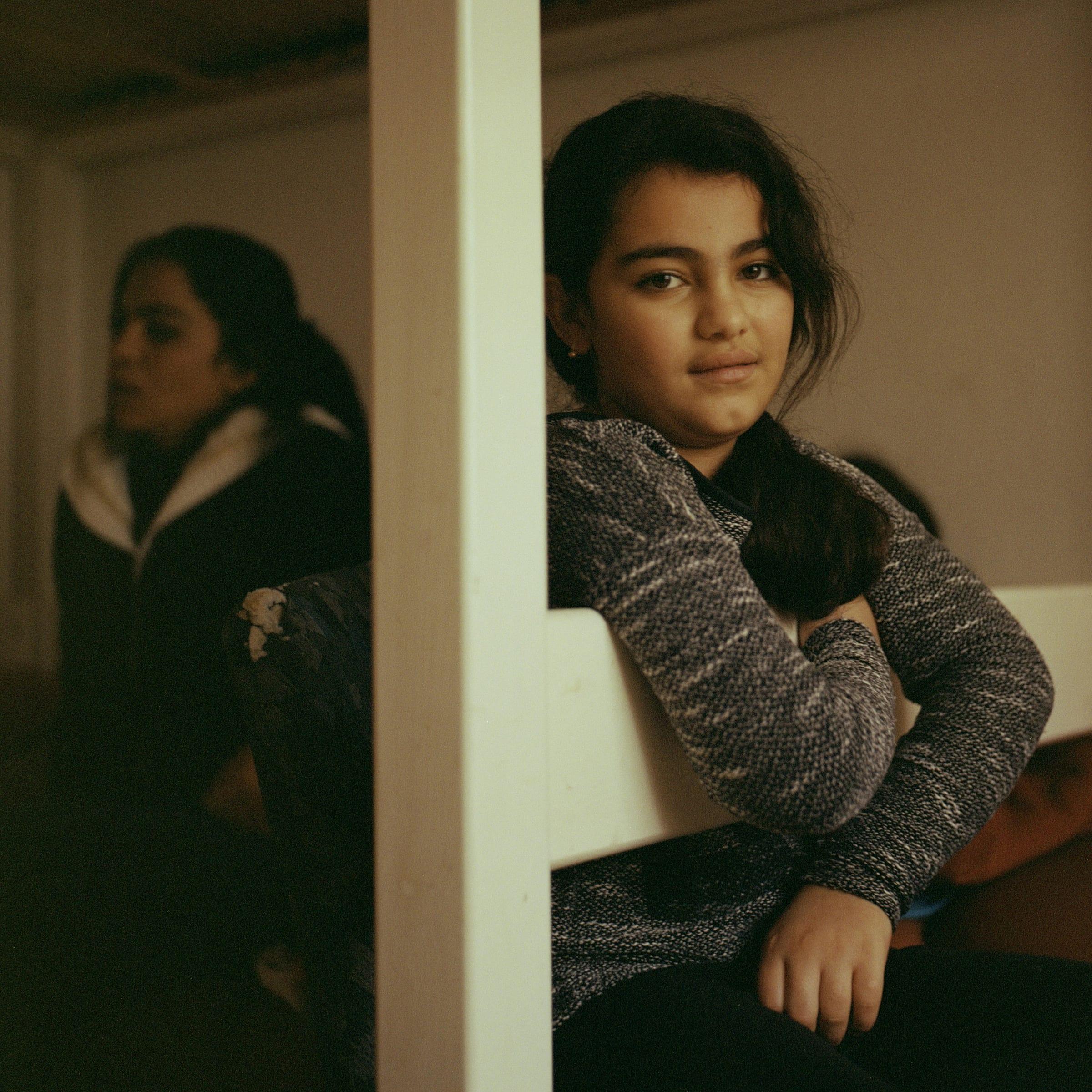 Berivan, Hanan's 10-year-old daughter, at home.