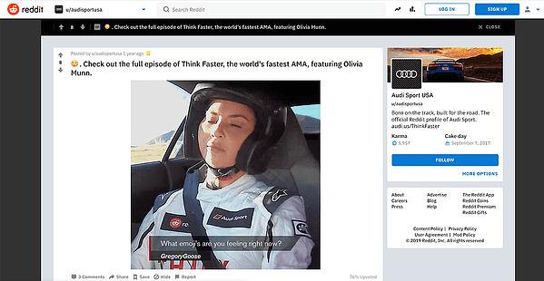 Reddit branded live AMA stream